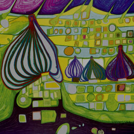Servietten - Hundertwasser - Land in Gelb