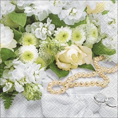 servietten blumen perlenkette ringe creme wei silber. Black Bedroom Furniture Sets. Home Design Ideas