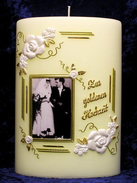 Kerze Zur Goldenen Hochzeit Oval Rosenecken Mit Foto