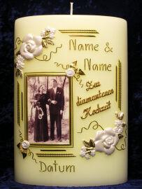 Kerze Zur Diamantenen Hochzeit Oval Rosenecken Mit Foto